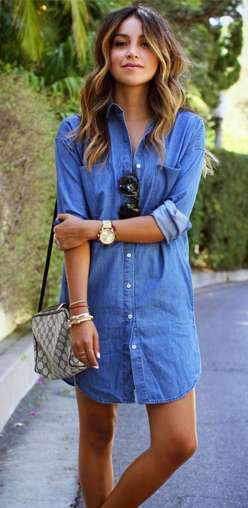i love a denim dress because you can wear it most of the year and it won't go out of style anytime soon