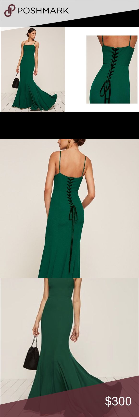 """REFORMATION Dahlia Dress in Emerald Long trumpet skirted dress in a dark green """"Emerald"""" color with lace up in the back. The ribbon in the back is dark green velvet. Size 6, fits true to size. Worn once as a bridesmaids dress. No trades. Reformation Dresses Maxi"""