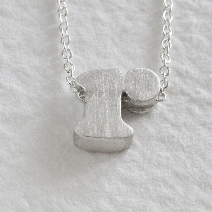 r - sterling silver block letter initial necklace. 16""