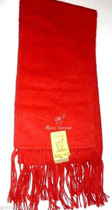 Alpaca Camargo Scarf Red Peru 100% Soft NWT Warm Fashionable Peruvian Made #CAMARGO #Scarf