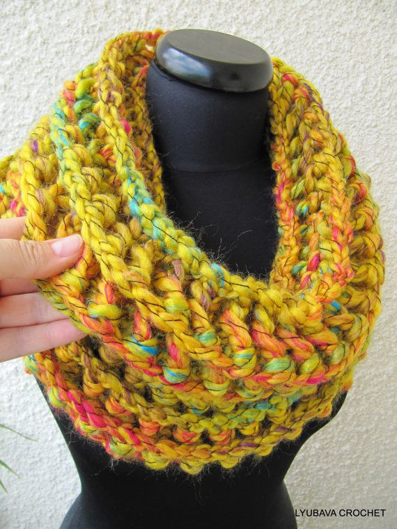 Crochet Pattern For Cowl Scarf : Mustard Cowl Crochet Pattern, Unique Chunky Crochet Cowl ...