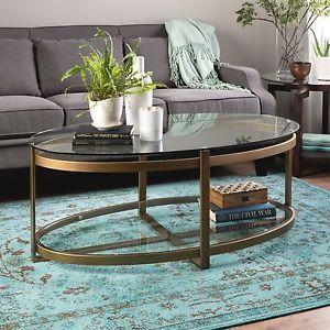 Coffee-Table-With-Storage-Oval-Glass-Top-Display-Gold-Retro-Shelf-Metro-Urban