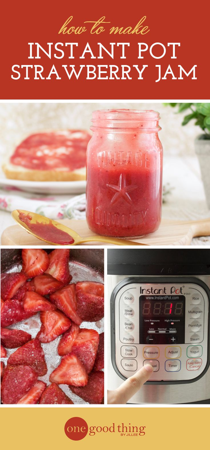 Learn a ridiculously simple method for making fresh strawberry jam right in your Instant Pot. Only 3 ingredients, and ready in under an hour.