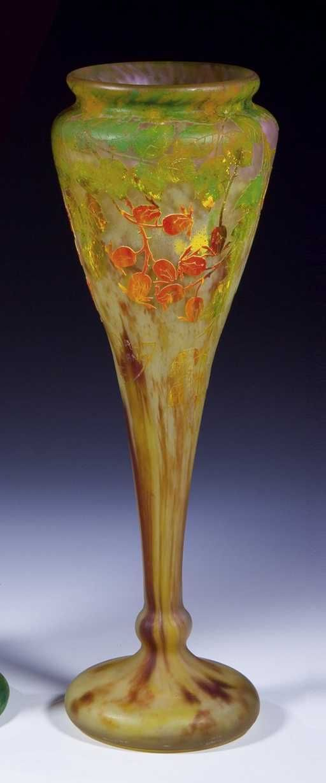 Lot: 432: Vase Daum Nancy Glass Art Deco Nouveau Rose Old, Lot Number: 0432, Starting Bid: €2,800, Auctioneer: Dr. Fischer Fine Art Auctions, Auction: European Glass and Studio Glass, Date: October 20th, 2007 UTC