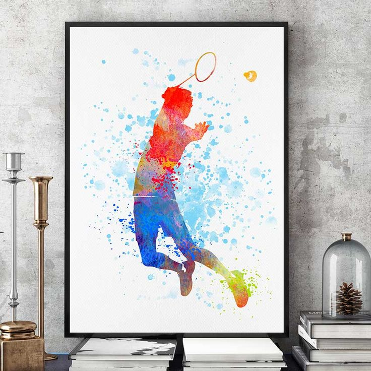 Badminton Gifts Print, Badminton Player, Watercolour Prints, Sports Decor, Badminton Wall Art, Kids Gift, Team Player (N018) by PointDot on Etsy
