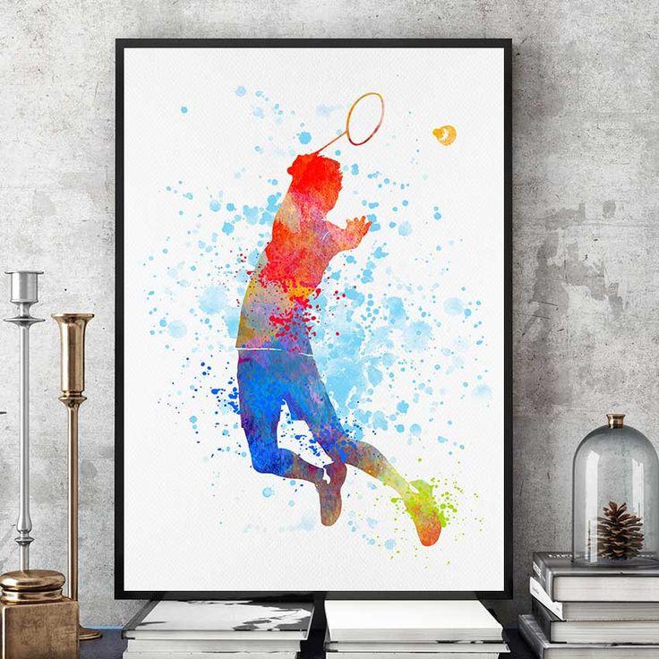 Badminton Gifts Print, Badminton Player, Watercolour Prints, Sports Decor, Badminton Wall Art, Kids Gift, Team Player (N018) by PointDot on Etsy