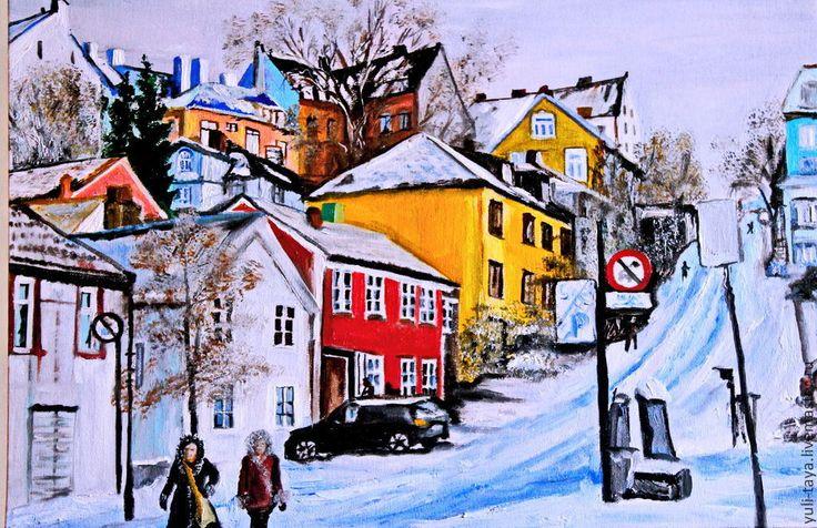 Купить картина маслом Норвегия. Начало зимы - зима, городок, картина, интерьер, люди, жизнь