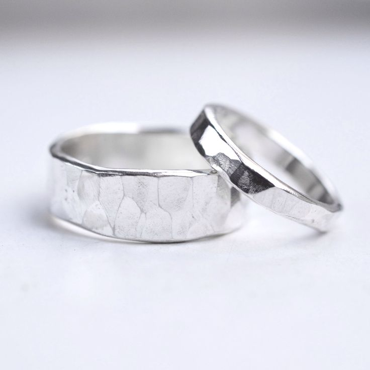 hammered wedding rings silver wedding bands rustic wedding ring set sterling silver textured wedding rings his - Silver Wedding Ring