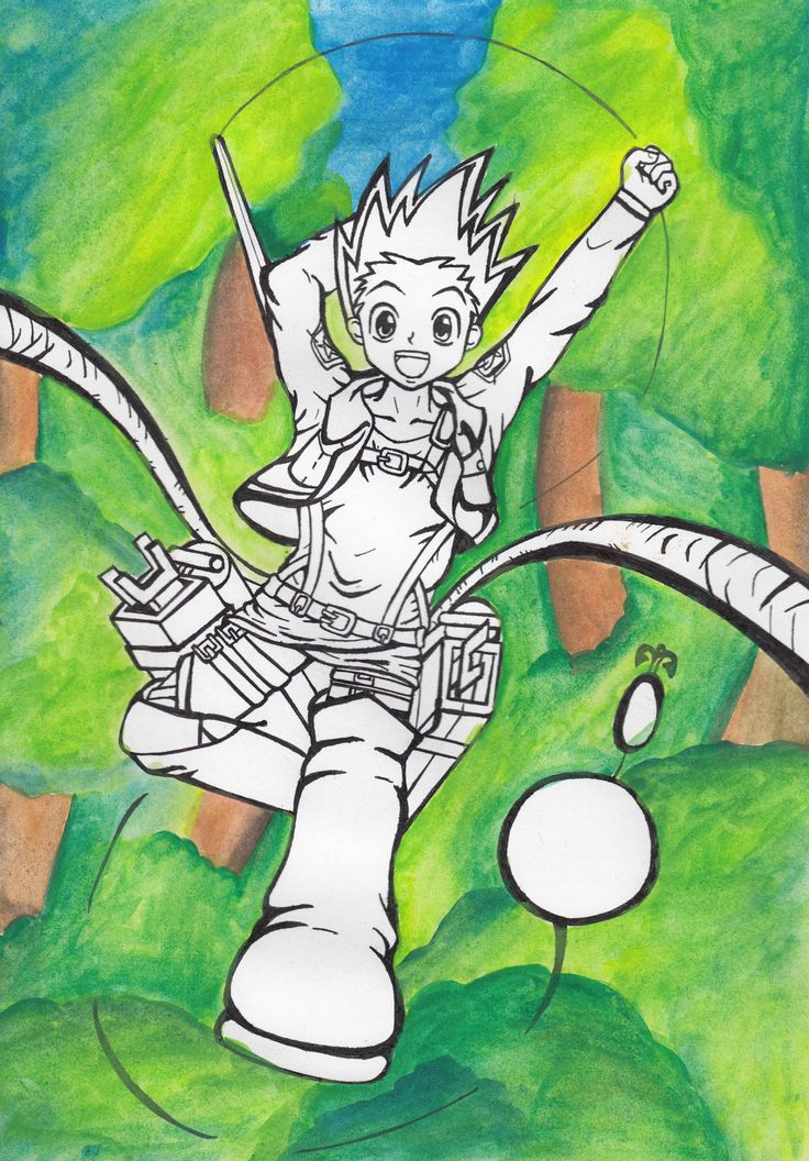 A fanart crossover of gon from hunter x hunter in 3dm gear from shingeki no kyojin or attack on titan.