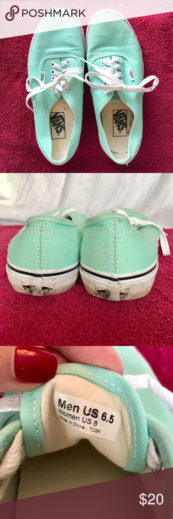 Mint Green Vans Authentic shoes 💚 Gently used! There are marks around the rim of the shoes. But in great condition! Please let me know if you have any questions! Vans Shoes Sneakers