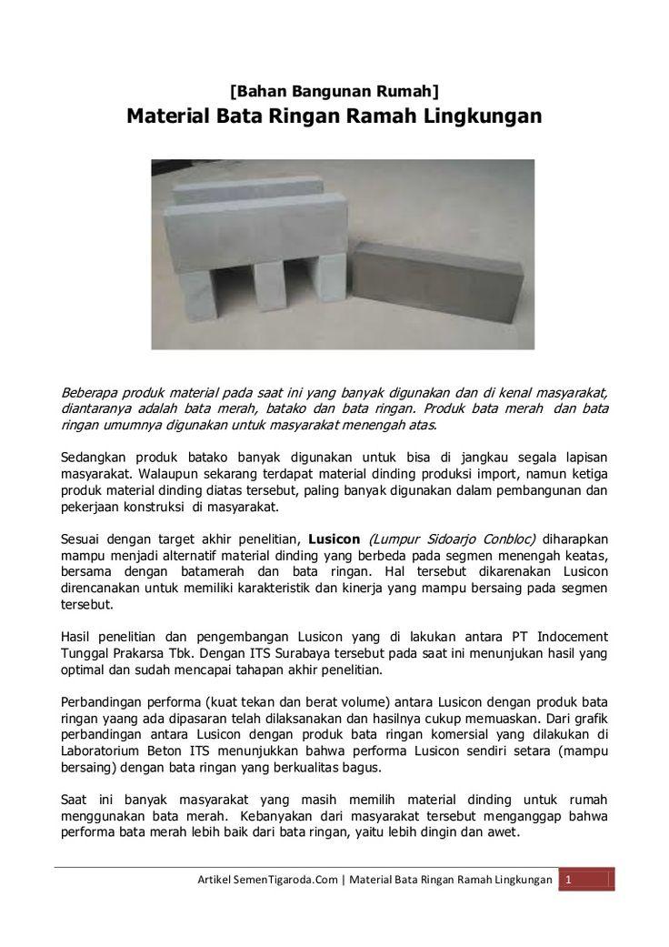 bahan-bangunanrumah-material-bata-ringan-ramah-lingkungan by Bahan Bangunan Material Rumah via Slideshare