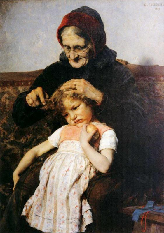 """Combing of Grand-daughter,"" 1886 -- by Georgios Iakovidis (1853 – 1932, Greek); alternate artist spellings include Georgios Jakobides"