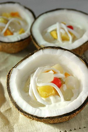 Buko Salad is the Filipino variation of the fruit salad, it is usually made out of mixed fruits, nata de coco, kaong (sugar palm), coconut, thickened cream and condensed milk. This dessert is a mainstay in every special occasion in the Philippines like birthdays, fiesta, weddings, Christmas and New Year's dinner.