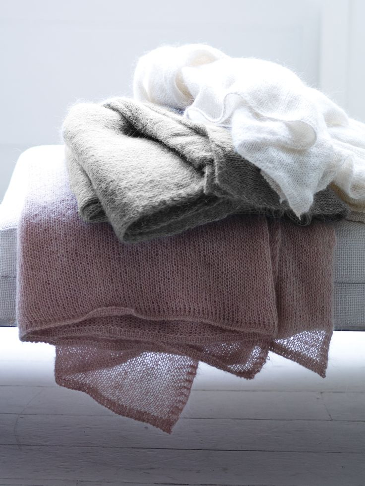 Knitted Mohair Throws - These would be lovely to cuddle up to on those chilly Spring nights which take us by surprise :)