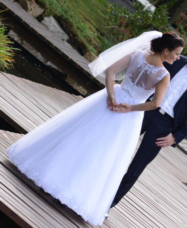 Suknie - Cudowna suknia ślubna - 1 100,00zł