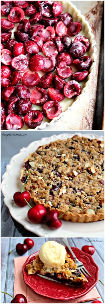 Cherry Almond Crumble Tart | www.DelightfulEMade.com | Summer fresh cherries topped with a delicious almond crumble makes this dessert out-of-this-world!