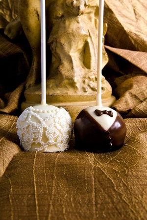 """rehearsal dinner cake pops.  love the """"lace!"""""""