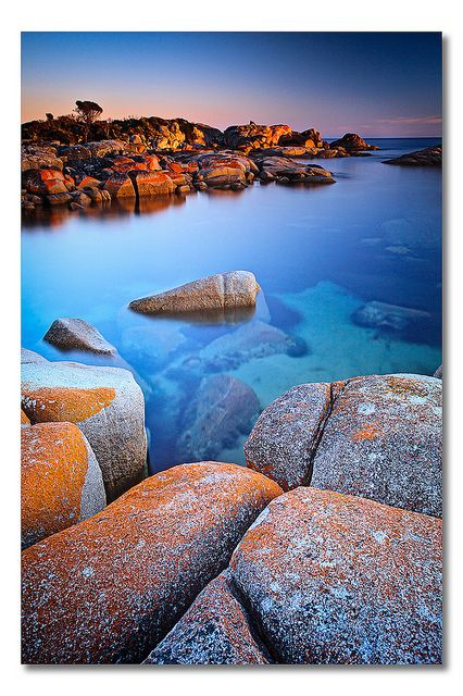 Bay of Fires The Bay of Fires is a bay on the northeastern coast of Tasmania in Australia, extending from Binalong Bay to Eddystone Point. The bay was given its name in 1773 by Captain Tobias Furneaux, who saw the fires of Aboriginal people on the beaches.  Must see with the boys