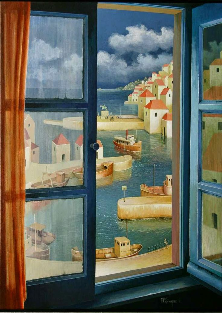 Blue - window - painting - Michiel Schrijver - The green island. & 76 best Windows images on Pinterest | Window art Art drawings and ...