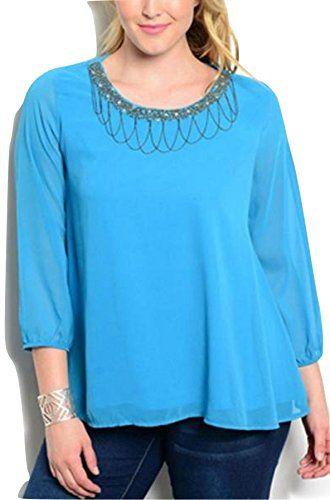C.O.C. Women Top Plus Size Solid Turquoise Embellished Be... https://www.amazon.com/dp/B06Y1C3MLX/ref=cm_sw_r_pi_dp_U_x_xLtRAbTJD5998