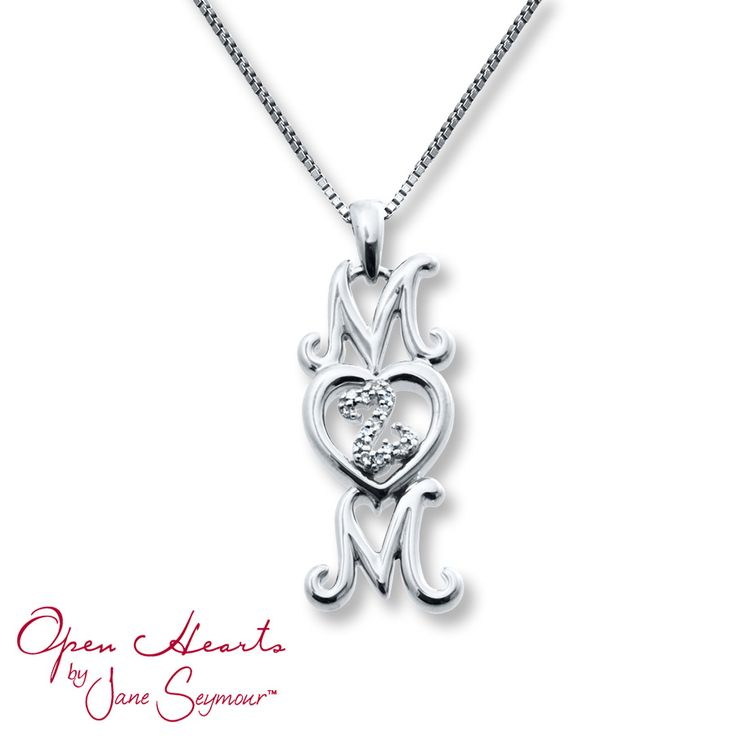 """A sterling silver heart beats at the center of the word """"Mom"""" in this delightful necklace from the Open Hearts Family by Jane Seymour™ collection. The heart is filled with a diamond-decorated Open Hearts design for exceptional style. The pendant is suspended from an 18-inch box chain secured with a lobster clasp."""