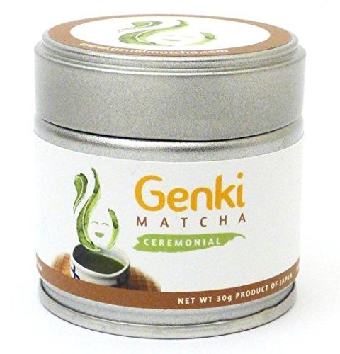 Genki Matcha Ceremonial Grade Matcha Green Tea, 30g Tin.  In Japanese, the word GENKI means to feel good, well, energetic or lively. This is the feeling that Genki Matcha provides without the coffee jitters.  Matcha has an abundance of health benefits: Fat burner - Lowers cholesterol - Detoxifies the body - Boosts metabolism - High in fiber - High in chlorophyll - Packed with cancer fighting antioxidants and vitamins - Keeps you calm and focused.