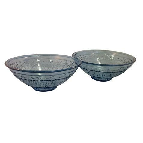 Sky blue Depression glass serving bowls.