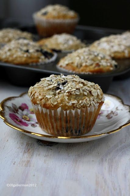 Slightly Healthier Muffins: Blueberry Peach Oatmeal Muffin Recipe -- Added ground flax, walnuts, and baking spice.