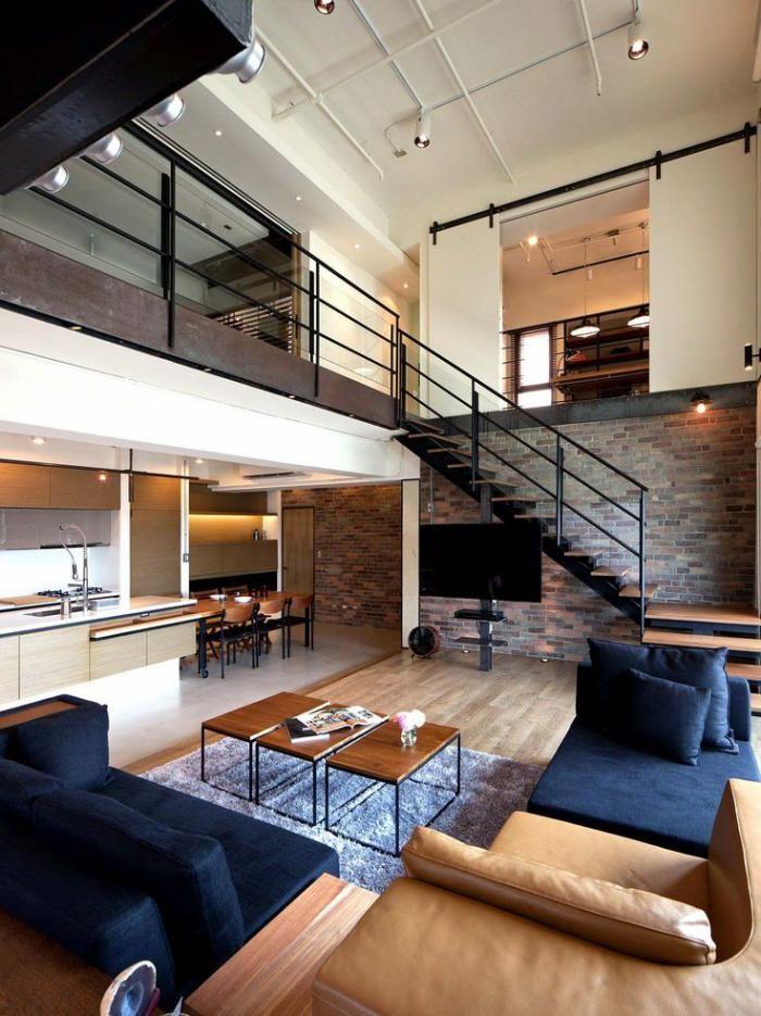 escalier bois et mtal et belle mezzanine au dessus de salon moderne - Salon Moderne Bois