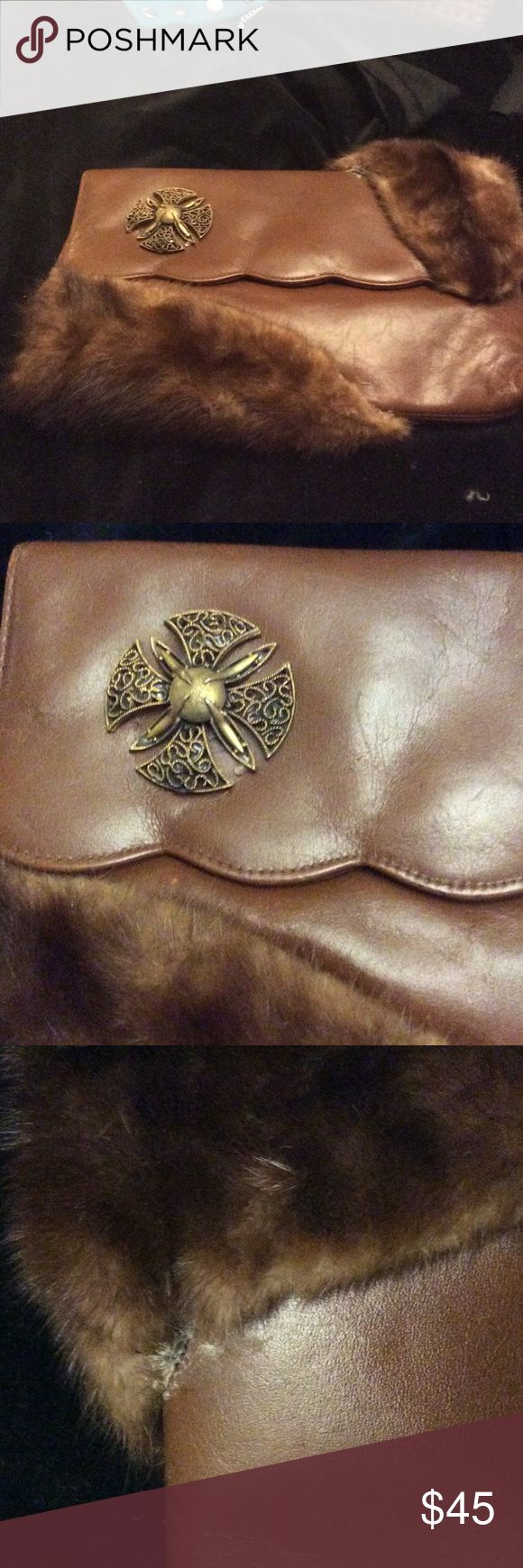 VINTAGE CUSTOM CLUTCH Genuine Brown leather customized with mink (I think) genuine fur. One of a kind. Bags Clutches & Wristlets
