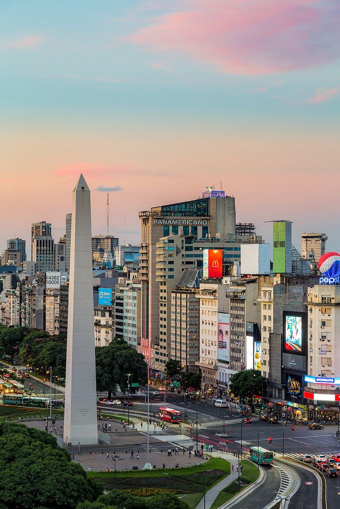 Pastel skies over the obelisk (Obelisco de Buenos Aires) along 9 de Julio Avenue in Buenos Aires, Argentina.