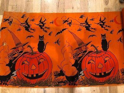 Fantastic-Vintage-1920-039-s-Halloween-Witch-Black-Cat-amp-JOL-Crepe-Paper-7-yards