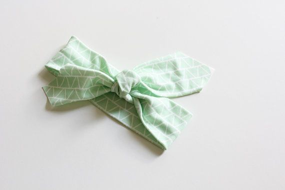 Organic Cotton Headband  Triangles Mint  Organic Cotton by raenne, $12.00