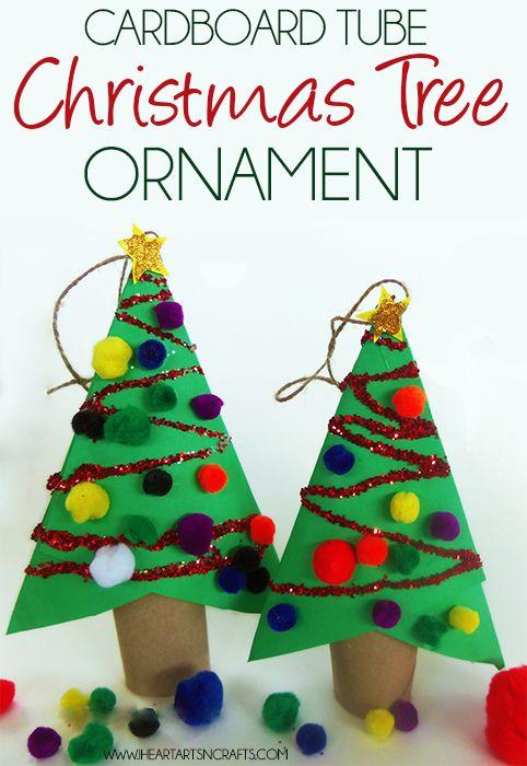 Diy cardboard tube christmas ornament kids craft
