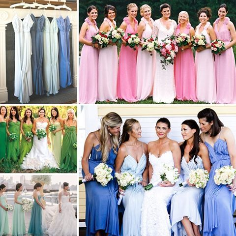 bridesmaid dresses different shades same color - Google Search