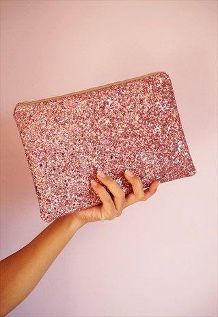 Blush Pink Glitter Clutch Bag