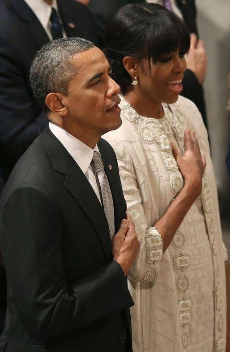 Michelle Obama en Naeem Kham au service de prière pour l'investiture de Obama