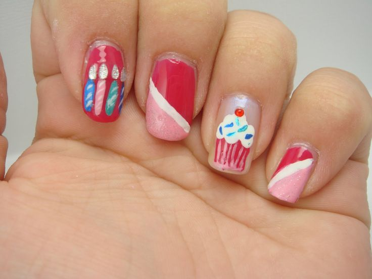 Birthday Themed Nail Arts Birthday Nails Birthdays And Ring Finger