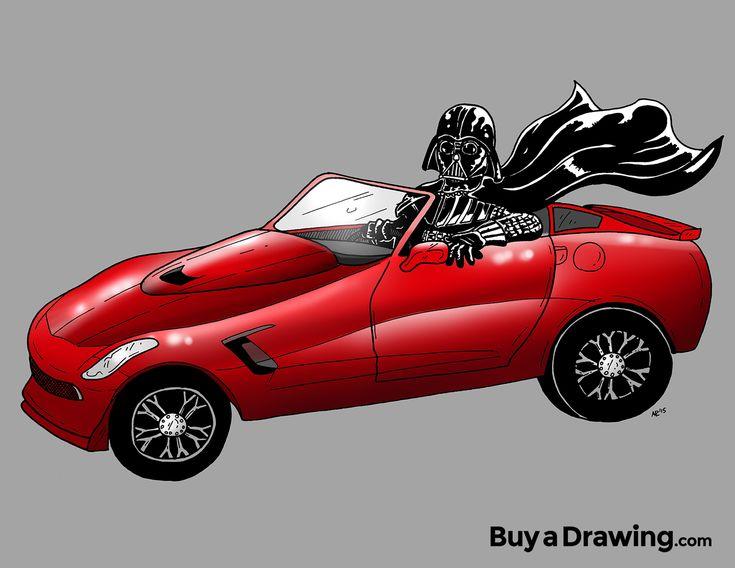 Cartoon drawing of Darth Vader in a red corvette #starwars #chevy #stingray #cartoonist #buyadrawing