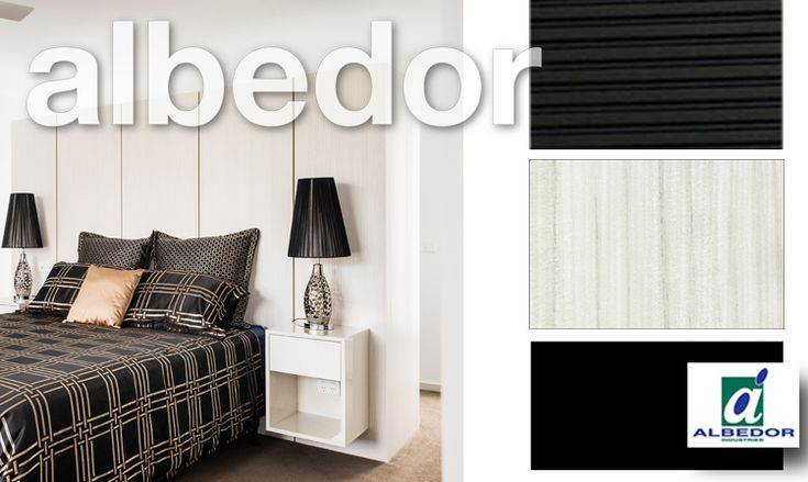 Albedor Bedroom Panels in Hacienda White featuring Side Tables in Satin Royal Oyster