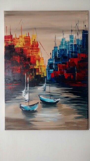 Puerto- Diseño: Gabriela Mensaque Pintura acrílico, técnica espatulado,  Artista: Violeta Groglio Julio 2014