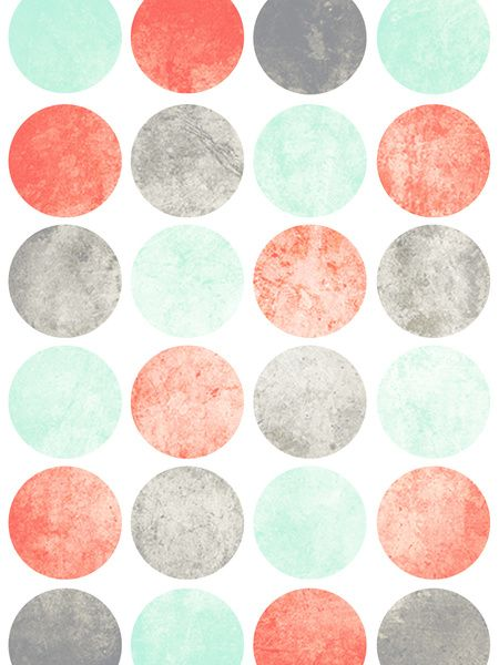 mint+and+grey+and+coral+decor | Mint And Coral Wallpaper Circles (mint, coral & gray)