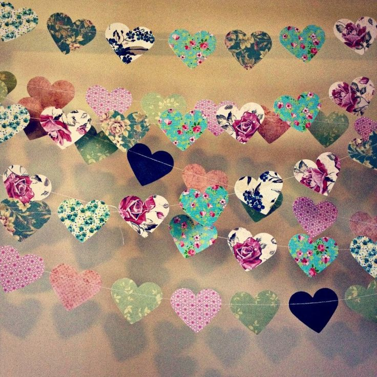 10 metres paper heart garland vintage shabby chic roses for Heart decoration ideas