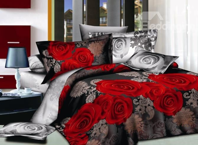 Sweet #3D Red Rose Print 4-Piece Polyester Duvet Cover Sets