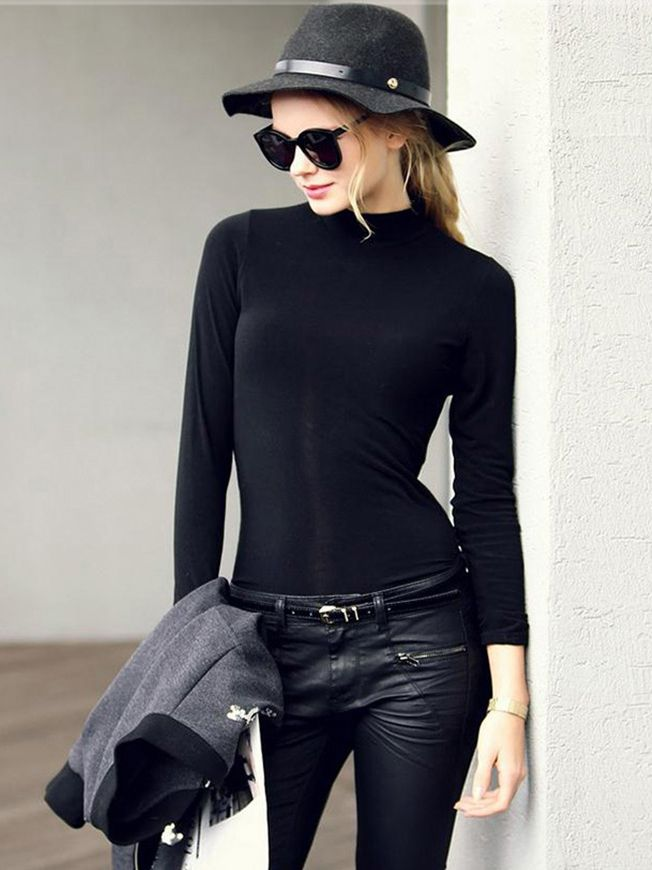 Shop Black Polo Neck Long Sleeve Slim T-Shirt online. SheIn offers Black Polo Neck Long Sleeve Slim T-Shirt & more to fit your fashionable needs.