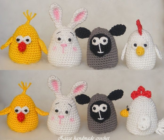 Amigurumi - Crochet Easter decorations pattern, Amigurumi hen, chick, bunny lamb by ZiccaHandmadeCrochet on Etsy