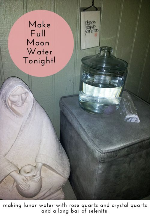 How to make Full Moon Water...just get a clear large glass jar and fill with distilled water. Place your favorite (no porous/toxic) gemstones in the water. I used rose quartz and clear crystal quartz. Place the jar out at night under the full moon and let the water charge. Use the water for Spiritual cleansing or cleaning around the home.