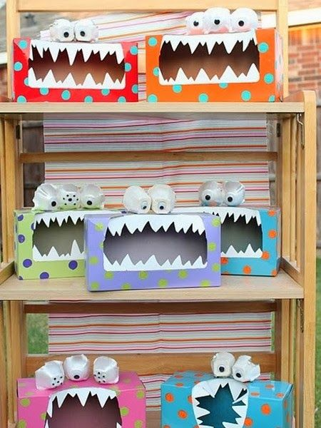 Try These DIY & Crafts - Easy tissue box and egg crate monsters for kids