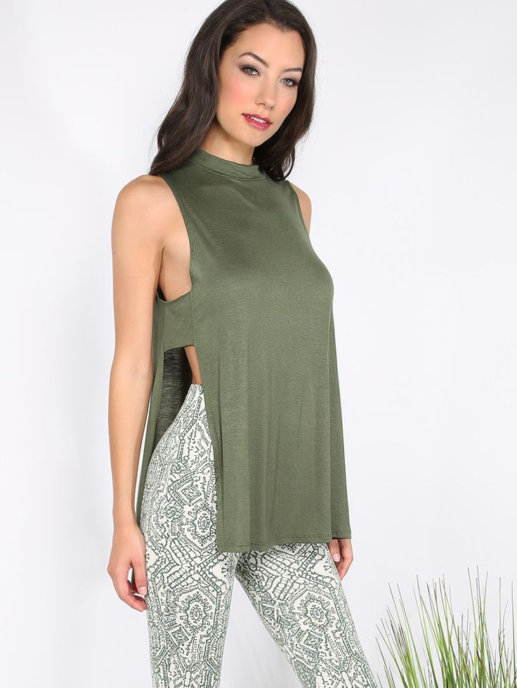 Online shopping for Open Side Slit Sleeveless Top OLIVE from a great selection of women's fashion clothing & more at MakeMeChic.COM.