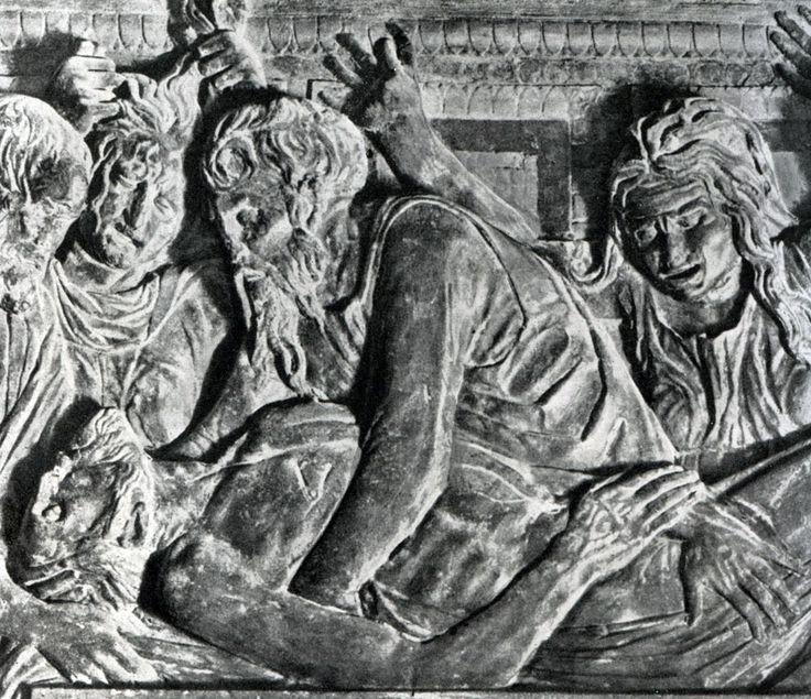 Всеобщая история искусств. Том 3. Донателло. Положение во гроб. Рельеф в церкви Сант Антонио в Падуе. Фрагмент. Тонированный известняк. 1440-е гг.